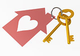 Golden House Keys with Red Heart Shape House Icon Illustration i