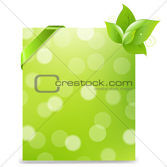 Banner With Ribbon And Bokeh And Leaves