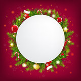 Merry Christmas Speech Bubble With Dark Red Background