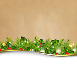 Retro Background And Fir Tree Border And Paper