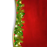 Retro Red Background And Fir Tree Border And Paper