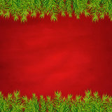 Retro Red Background And Fir Tree Borders