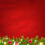 Retro Red Background And Fir Tree Garland