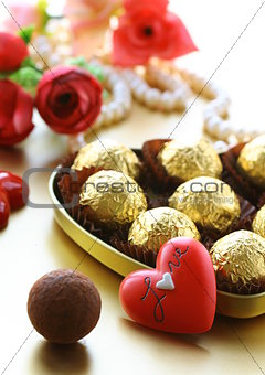 box of chocolates and pearl, gift for Valentines Day