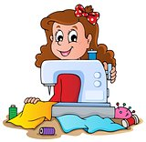 Cartoon girl with sewing machine