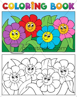 Coloring book with flower theme 1