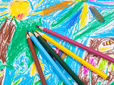 several colored pencils on children draw picture