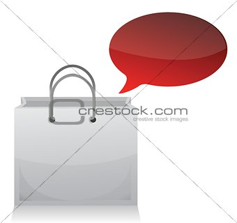 shopping bag and blank bubble