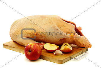 Cooking duck with apples.