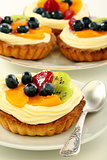 Baskets of pastry with custard.