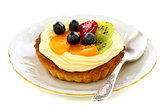 Cake with cream and fruit.
