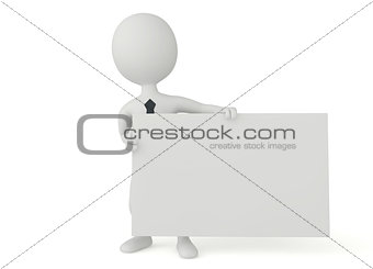 3d humanoid character hold a signboard
