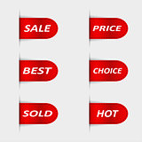 Set of red sales labels
