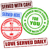 Served with care stamp
