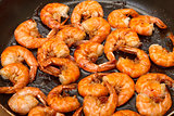 Fried King Prawns in a Frying Pan