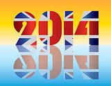 New Year 2014 London England Flag Illustration