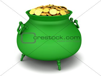 Green cauldron of golden coins