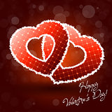 Illustration of Pair of Valentine Heart on Abstract Background