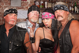 Biker Gang Members with Woman