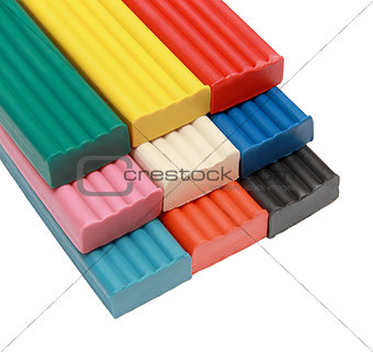 The group of objects for children colored plasticine isolated on