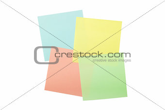 four colored sticky notes