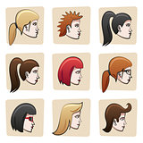 Cartoon women heads