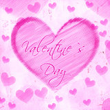 valentines day in striped heart on pink old paper