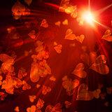 orange hearts with lights