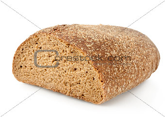 Black rye bread isolated
