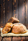 Bread on wooden boards