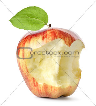 Eaten red apple and leaf isolated