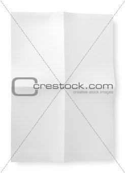 Folded blank sheet of paper