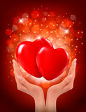 Valentine`s day background. Hands holding two red hearts. Vector