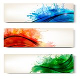 Collection of colorful abstract watercolor banners. Vector 