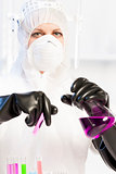 young woman wearing protective clothes in laboratory