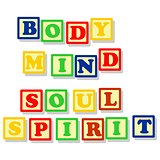 Body mind soul and spirit in color block
