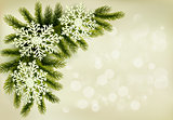 Christmas retro background with christmas tree branches and snow
