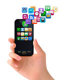 Hand holding mobile phone with icons. Vector