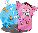 Cute funny kitten vector illustration