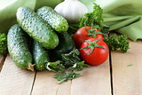 fresh vegetables cucumber, tomato and garlic