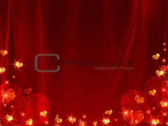 background with golden and red hearts