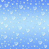 hearts like droplets blue background