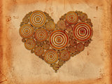heart of tree rings old paper background