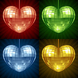 Disco Heart set. Vector mirror disco ball in the shape of heart
