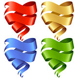 Set of vector Ribbon banner in the shape of heart 