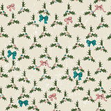 Seamless texture with mistletoe and bows.