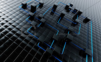 Abstract background from black metal cubes and blue wires