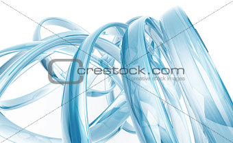 abstract transparent glass rings on white background