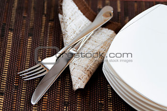 fork knife and empty plates