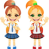 Vector smiling chestnut and redhead cute schoolgirls
